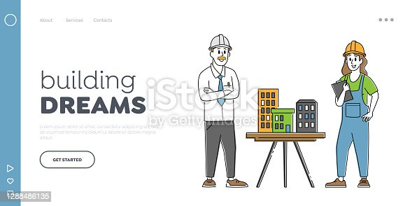 Architecture Projection Landing Page Template. Architect, Builder Engineer Character Presenting Model of House to Foreman. Building and Engineering Construction. Linear People Vector Illustration