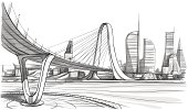 Vector illustration of the architectural design. In the style of drawing.