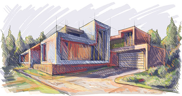ilustraciones, imágenes clip art, dibujos animados e iconos de stock de arquitectura - nueva casa