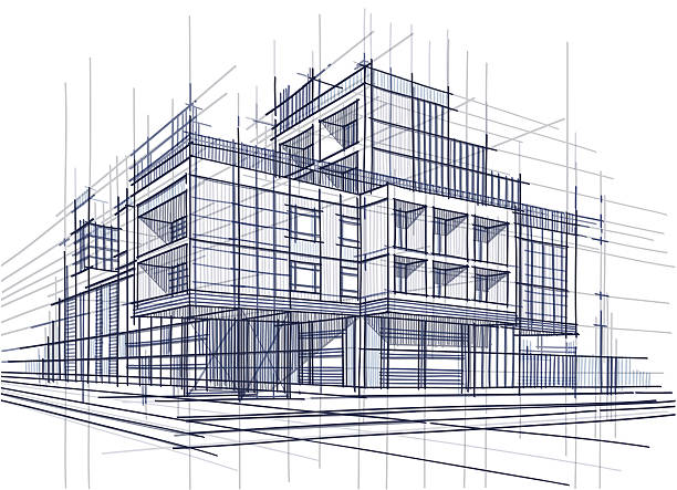 architecture Vector illustration of the architectural design. In the style of drawing. (ai 10 eps with transparency effect) architecture illustrations stock illustrations