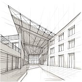 Vector illustration of the architectural design. In the style of drawing. (ai 10 eps with transparency effect).