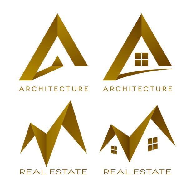 illustrazioni stock, clip art, cartoni animati e icone di tendenza di architecture vector logos real estate icons - real life