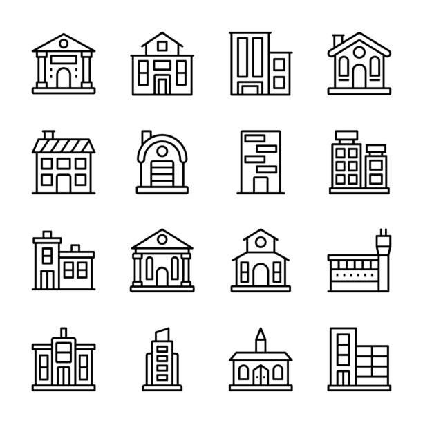 stockillustraties, clipart, cartoons en iconen met architecturen lijn iconen set - gemeentehuis