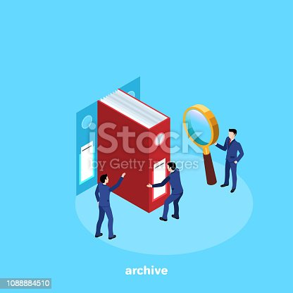 men in business suits work in the archive with documents, isometric image