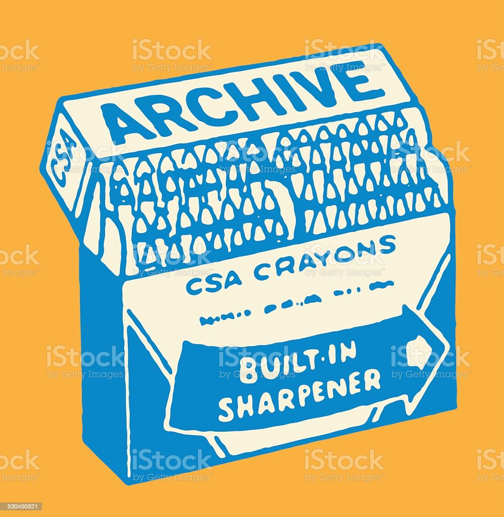 CSA Archive Crayon Box with Built-In Sharpener vector art illustration
