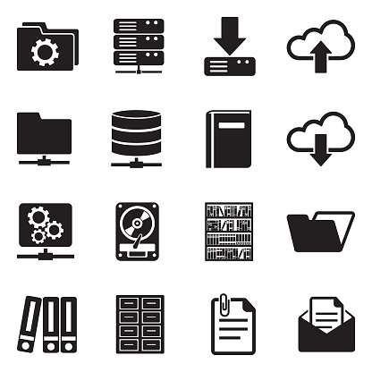 Archive Icons. Black Flat Design. Vector Illustration.
