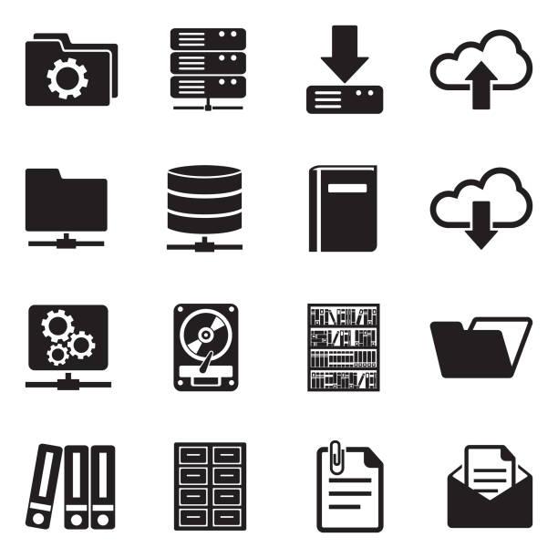 stockillustraties, clipart, cartoons en iconen met archief pictogrammen. zwart plat design. vectorillustratie. - netwerkserver