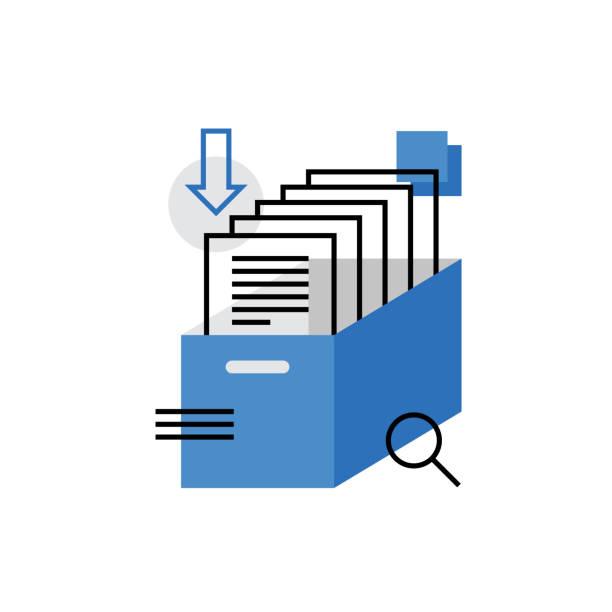 stockillustraties, clipart, cartoons en iconen met archief monoflat pictogram - opslagruimte