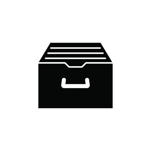 bildbanksillustrationer, clip art samt tecknat material och ikoner med arkiv lagring solid ikon - byrålåda