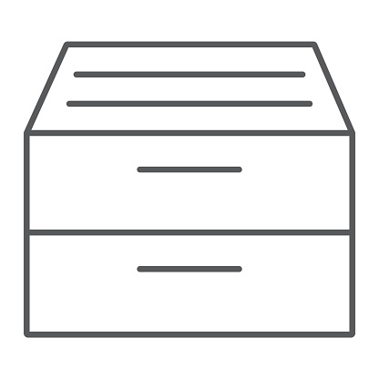 Archive storage thin line icon, office and work, folder sign, vector graphics, a linear pattern on a white background, eps 10.