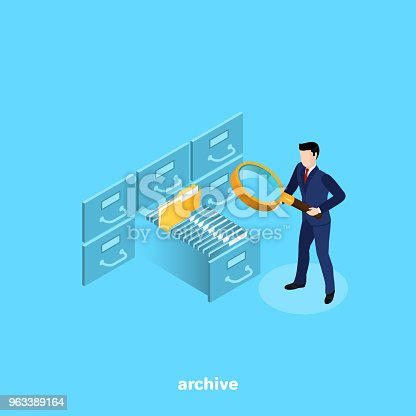 a man in a business suit with a magnifier looking for a file on the shelves of the archive, an isometric image