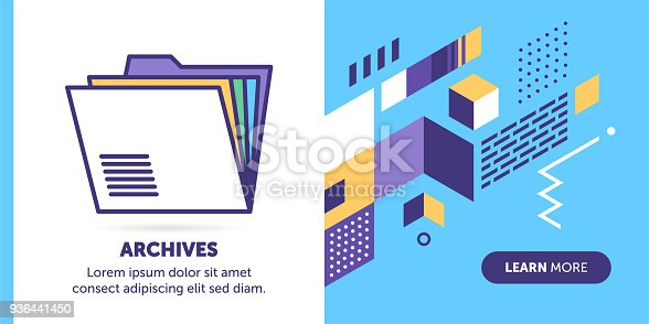 Archives vector banner illustration also contains icon for the topic.