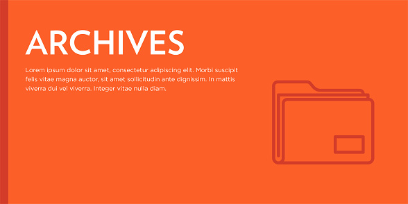 Archives Flat Web Banner with Editable Stroke Line Icon