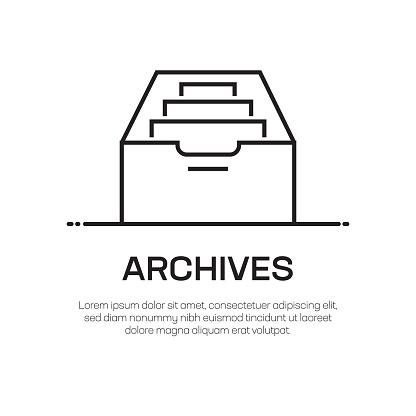 Archives Vector Line Icon - Simple Thin Line Icon, Premium Quality Design Element