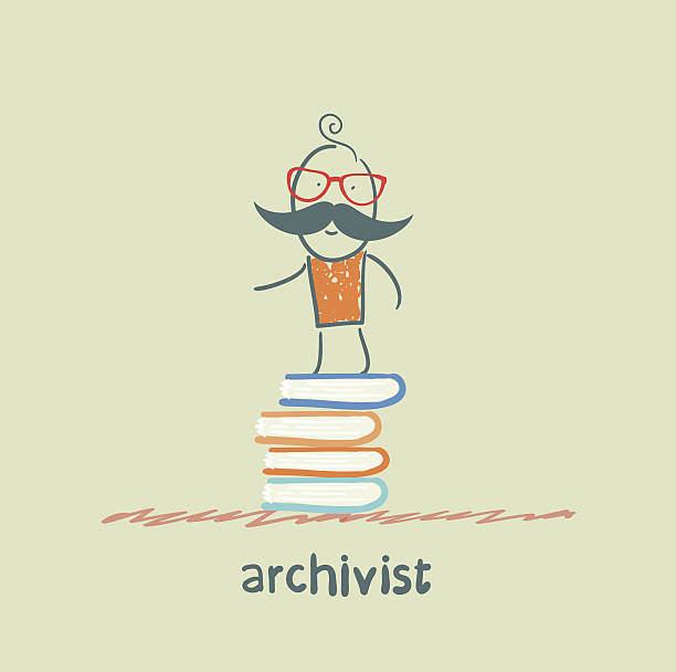 archivist stands on a pile of books vector art illustration
