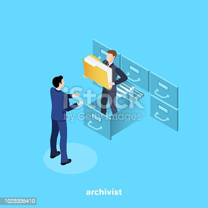 a man in a business suit issues a folder with documents from the archive, an isometric image
