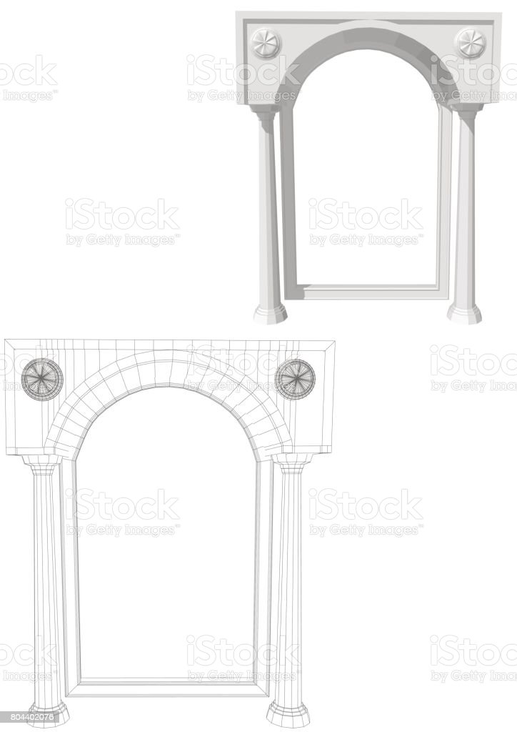 Archway with columns vector art illustration