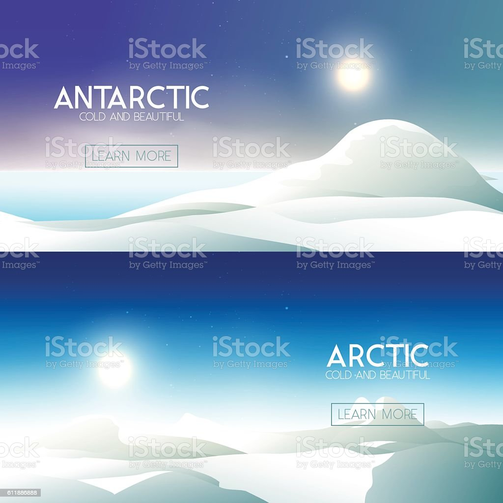Arctic and Antarctica banners vector art illustration