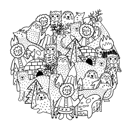Arctic animals circle shape pattern for coloring book. Black and white print with North Pole characters