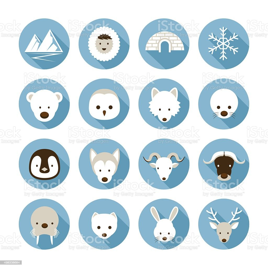 Arctic Animals Flat Icons Set vector art illustration