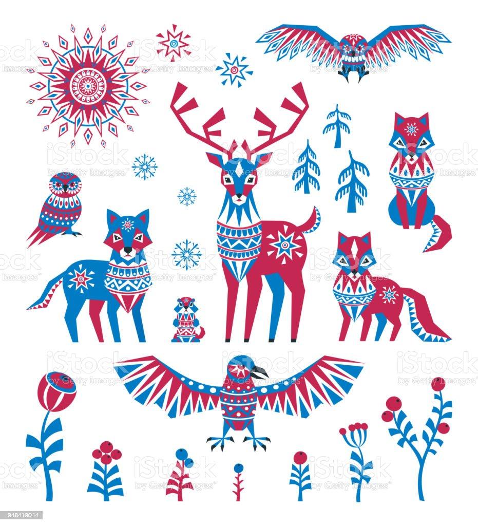 arctic animals set in ethnic style vector art illustration