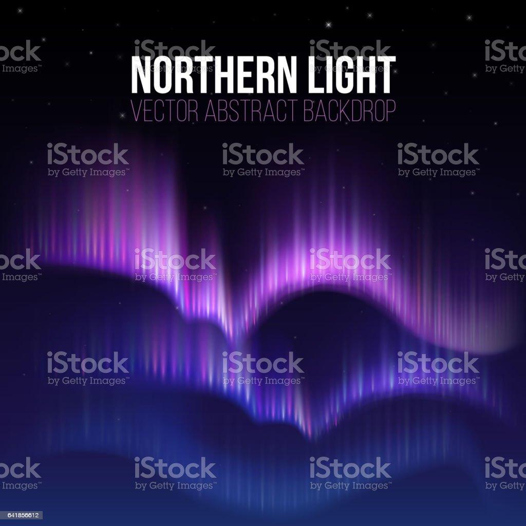 Aurora do Ártico, a aurora boreal no Alasca polaris vector fundo - ilustração de arte em vetor