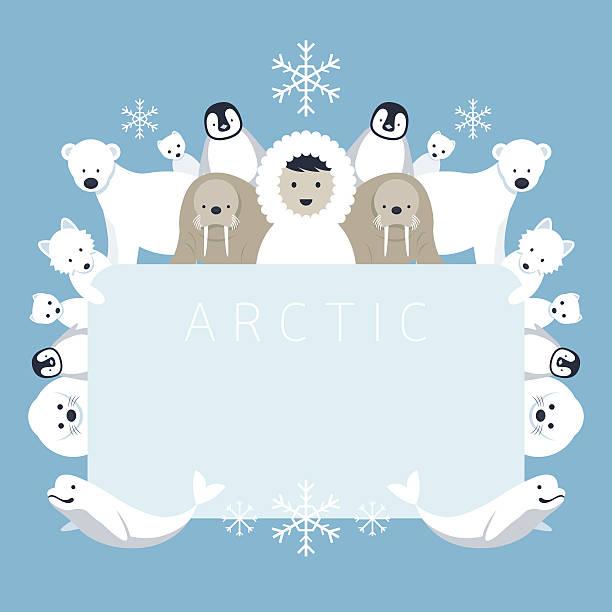 Arctic Frame, Tieren und Menschen – Vektorgrafik