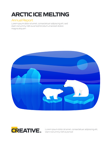 Arctic Ice Melting Concept for Posters, Covers and Banners. Modern Flat Design Vector Illustration.
