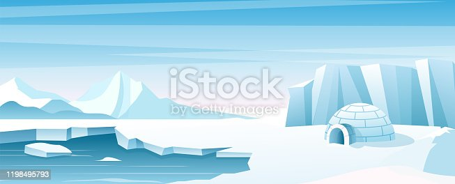 Arctic landscape with ice house flat vector illustration. Shelter, hut built of snow, igloo. Eskimo people building inhabit . Beautiful snowy winter nature view. Ice mountains peaks