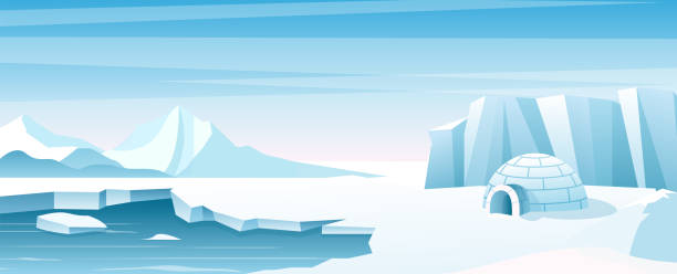 Arctic landscape with ice house flat vector illustration Arctic landscape with ice house flat vector illustration. Shelter, hut built of snow, igloo. Eskimo people building inhabit . Beautiful snowy winter nature view. Ice mountains peaks arctic stock illustrations
