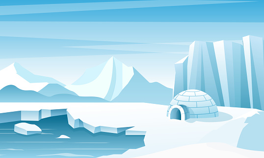 Arctic landscape with ice igloo flat vector illustration