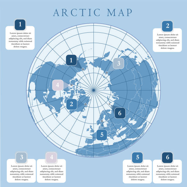 Arctic map with countries boundary, grid and label. Arctic regions of northern hemisphere. Circumpolar projection. Vector. Infographic. Blue background. Arctic map with countries boundary, grid and label. Arctic regions of northern hemisphere. Circumpolar projection. Vector. Infographic. Blue background. north pole stock illustrations