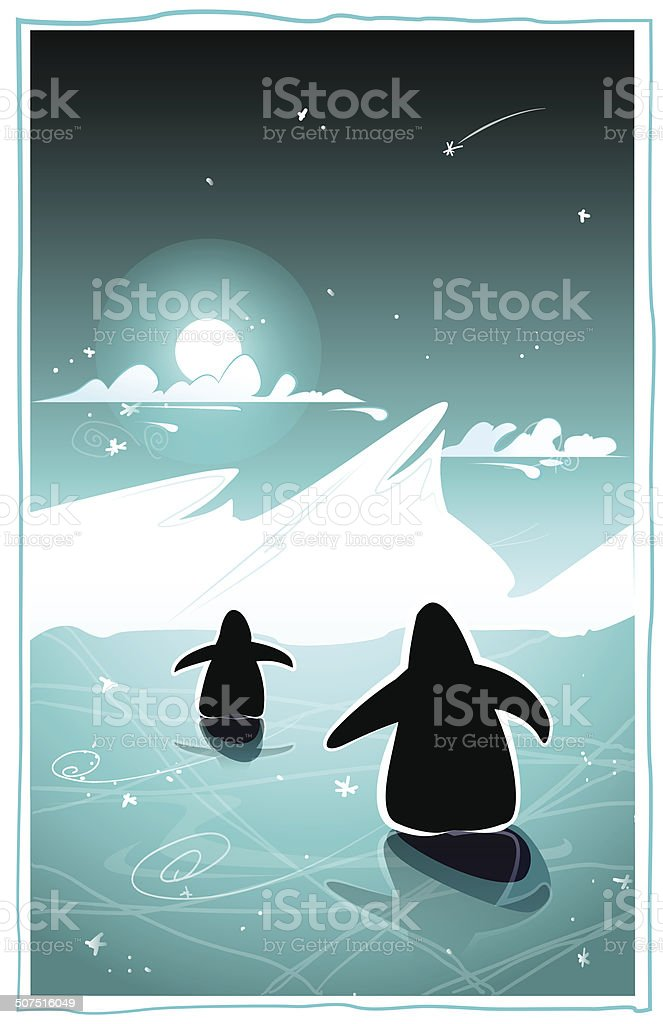 Arctic night with penguins royalty-free stock vector art