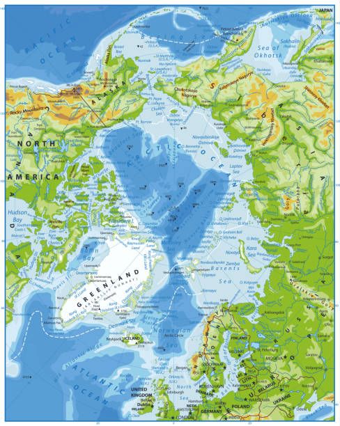 Arctic Ocean Physical Map Arctic Ocean Physical Map. Highly detailed vector illustration. greenland stock illustrations