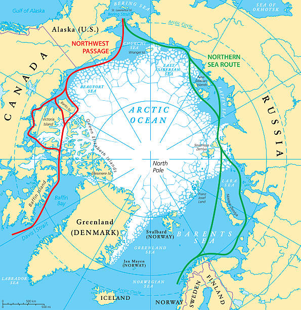 Arctic Ocean Sea Routes Map Arctic Ocean sea routes map with Northwest Passage and Northern Sea Route. Arctic Region map with countries, national borders, rivers, lakes and average minimum extent of sea ice. English labeling and scaling. north pole stock illustrations