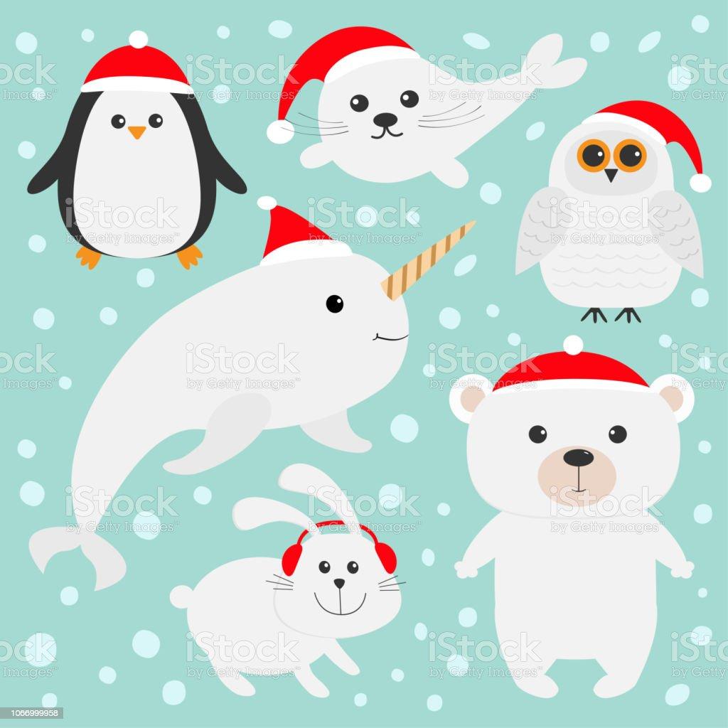 Arctic Polar Animal Set In Red Santa Hat White Bear Owl