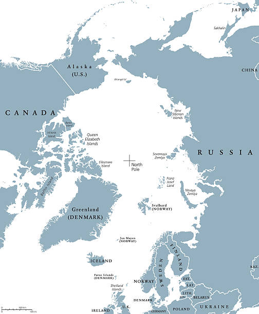 Arctic region countries and North Pole political map Arctic region countries and North Pole political map with national borders and country names. Arctic ocean without sea ice. English labeling and scaling. Illustration. greenland stock illustrations