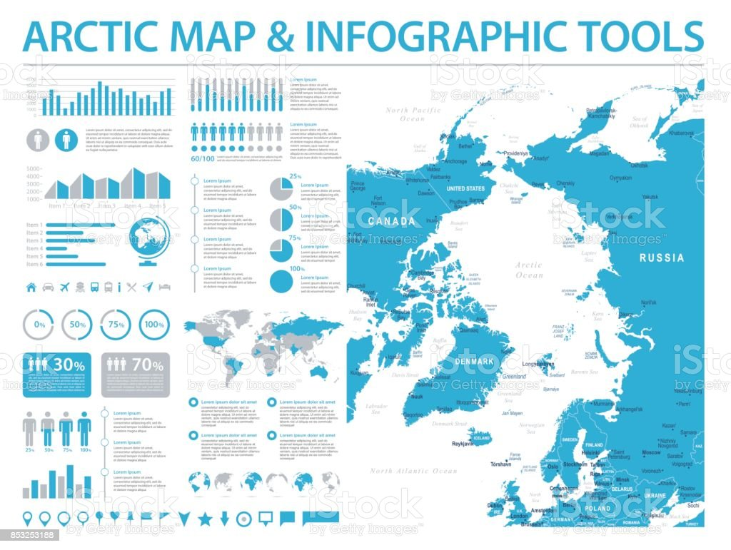 Arctic Region Map - Info Graphic Vector Illustration vector art illustration