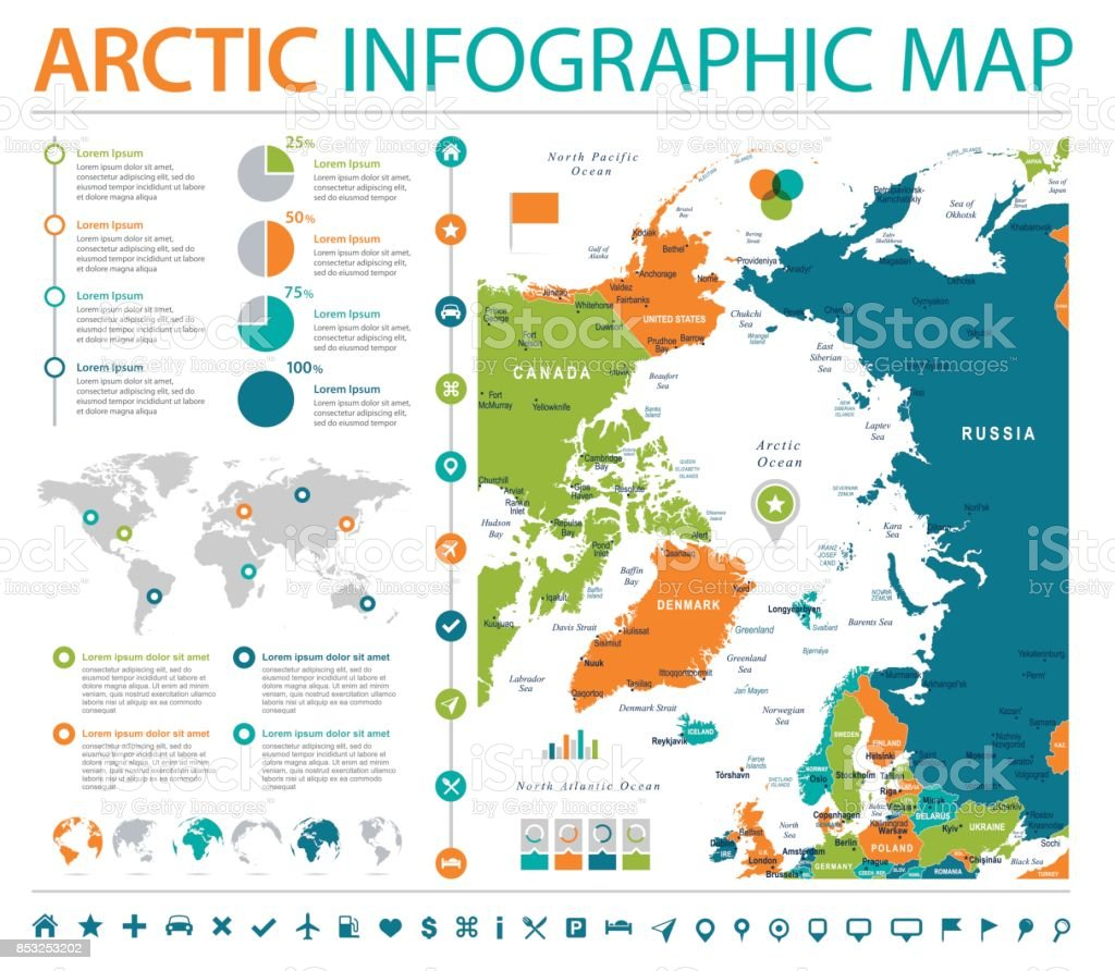 Arctic region map info graphic vector illustration stock vector art arctic region map info graphic vector illustration royalty free stock vector art gumiabroncs Images