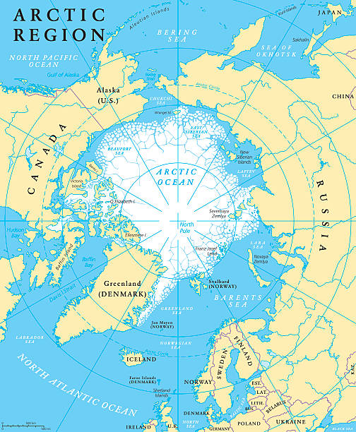 Arctic Region Map Arctic region map with countries, capitals, national borders, rivers and lakes. Arctic Ocean with average minimum extent of sea ice. English labeling and scaling. Illustration. north pole stock illustrations