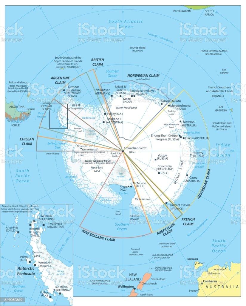 Arctic Region Map vector art illustration