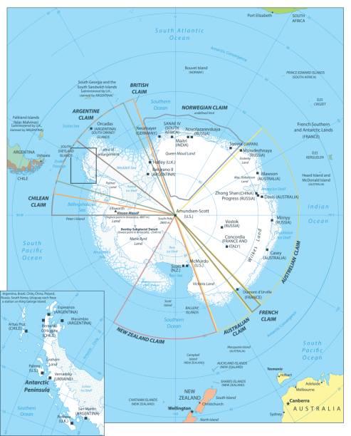 ilustraciones, imágenes clip art, dibujos animados e iconos de stock de región ártica mapa - mapa de antártida