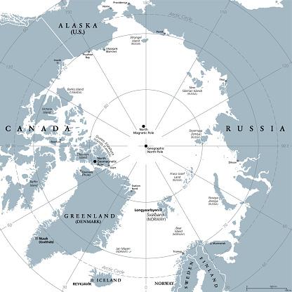 Arctic region, polar region around North Pole, gray political map