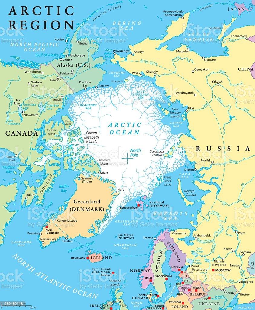 Arctic Region Political Map Stock Vector Art More Images Of - Political map of alaska