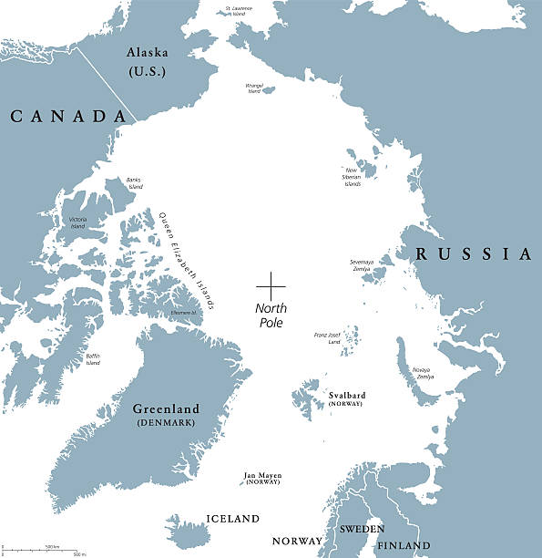 Arctic region political map Arctic region political map. Polar region around the North Pole at the northernmost part of Earth. The Arctic Ocean without ice. Gray illustration with English labeling on white background. Vector. arctic stock illustrations