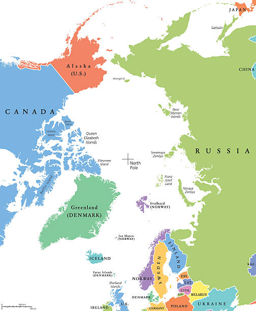 Arctic region single states and North Pole political map Arctic region single states and North Pole political map. Nations in different colors, with national borders and country names. Arctic ocean without sea ice. English labeling and scaling. Illustration greenland stock illustrations
