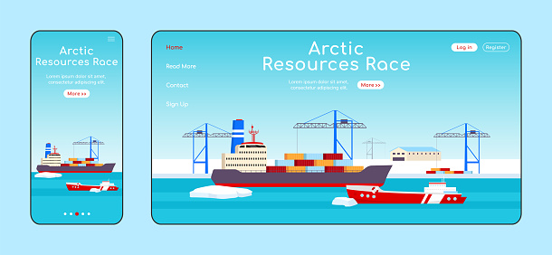 Arctic resources race adaptive landing page flat color vector template. Polar shipyard mobile and PC homepage layout. Freight transportation one page website UI. Sea port webpage cross platform design