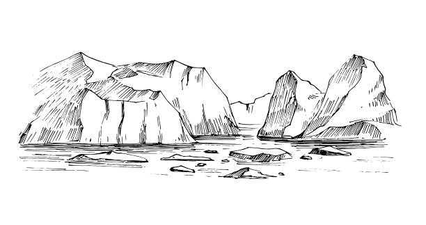 Arctic sketch. Icebergs. Northen landscape. Hand drawn illustration converted to vector Arctic sketch. Icebergs. Northen landscape. Hand drawn illustration converted to vector rock formations stock illustrations