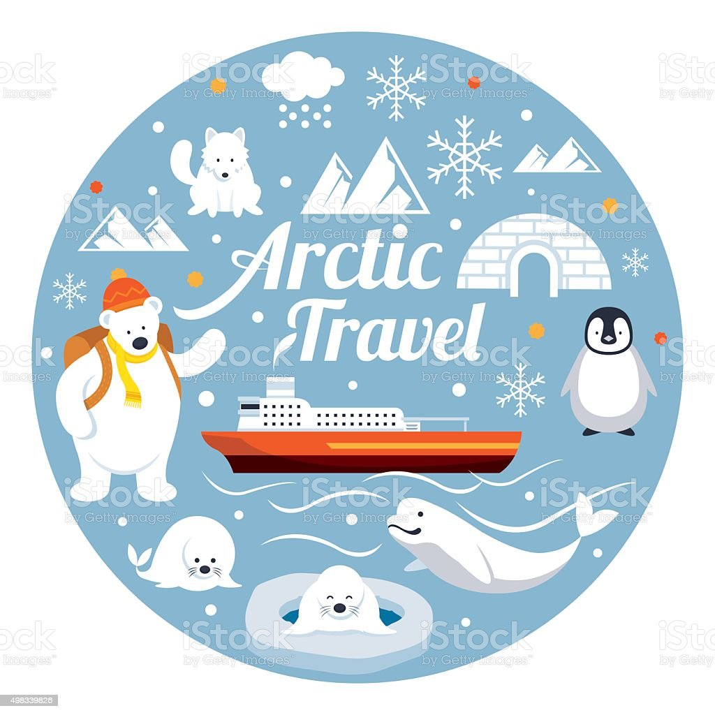 Arctic Travel, Label vector art illustration