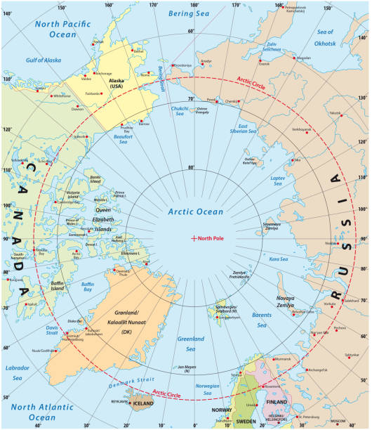 arctic vector map colored vector map of the northern hemisphere, arctic vector map greenland stock illustrations